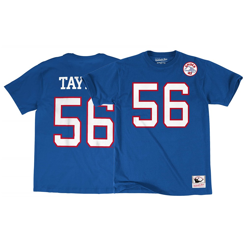Lawrence Taylor New York Giants NFL Mitchell   Ness Men s Blue Name   Number  Jersey T-Shirt 69de6d924