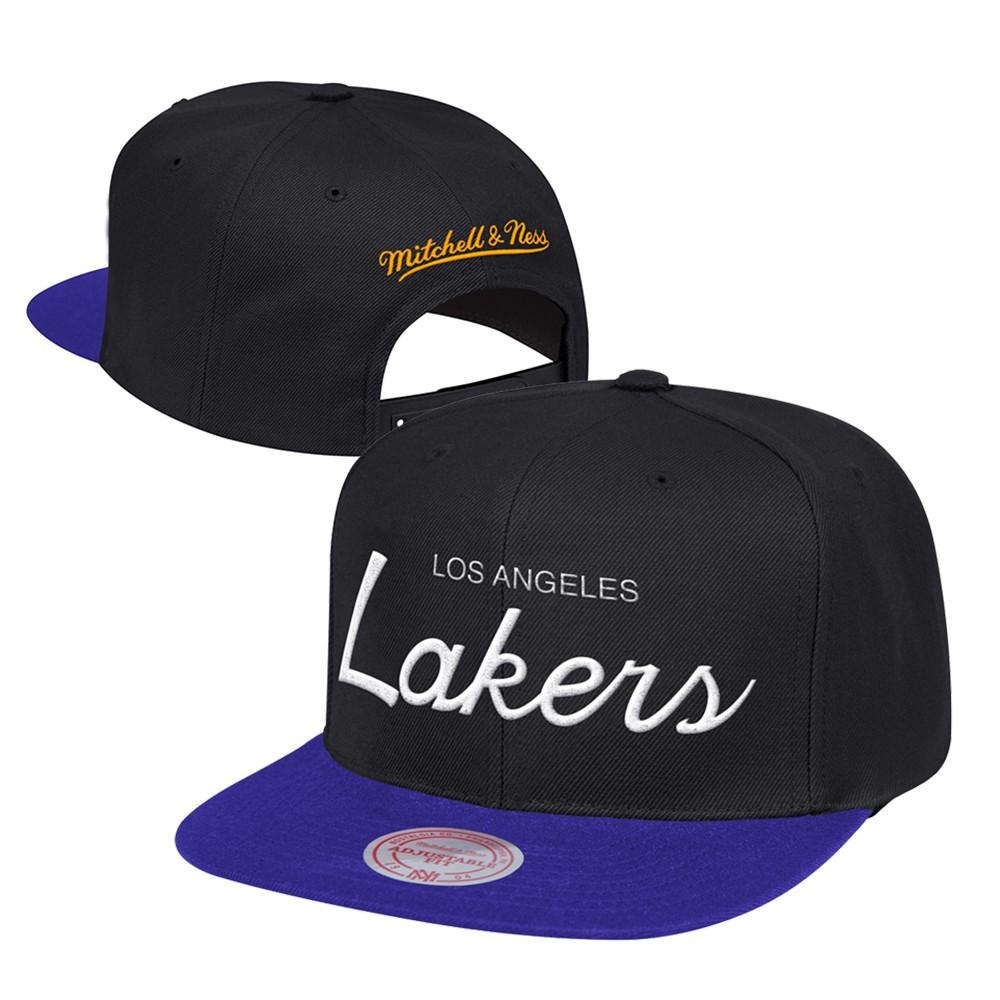 18af00e3c19eb9 Los Angeles Lakers Mitchell & Ness Classic Script (Black/Purple) Snapback  Cap