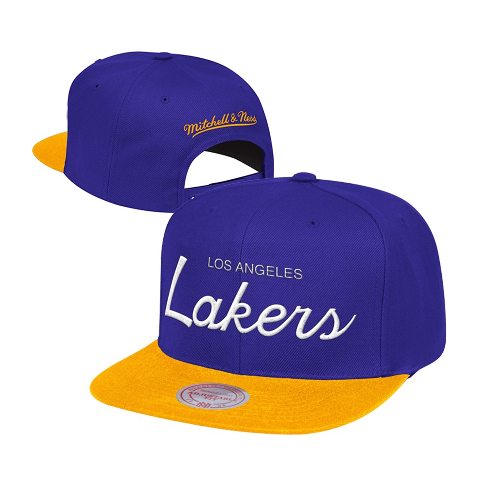 6bf0c2b70d6 Los Angeles Lakers Mitchell   Ness Classic Script (Purple Gold) Snapback Hat  Cap