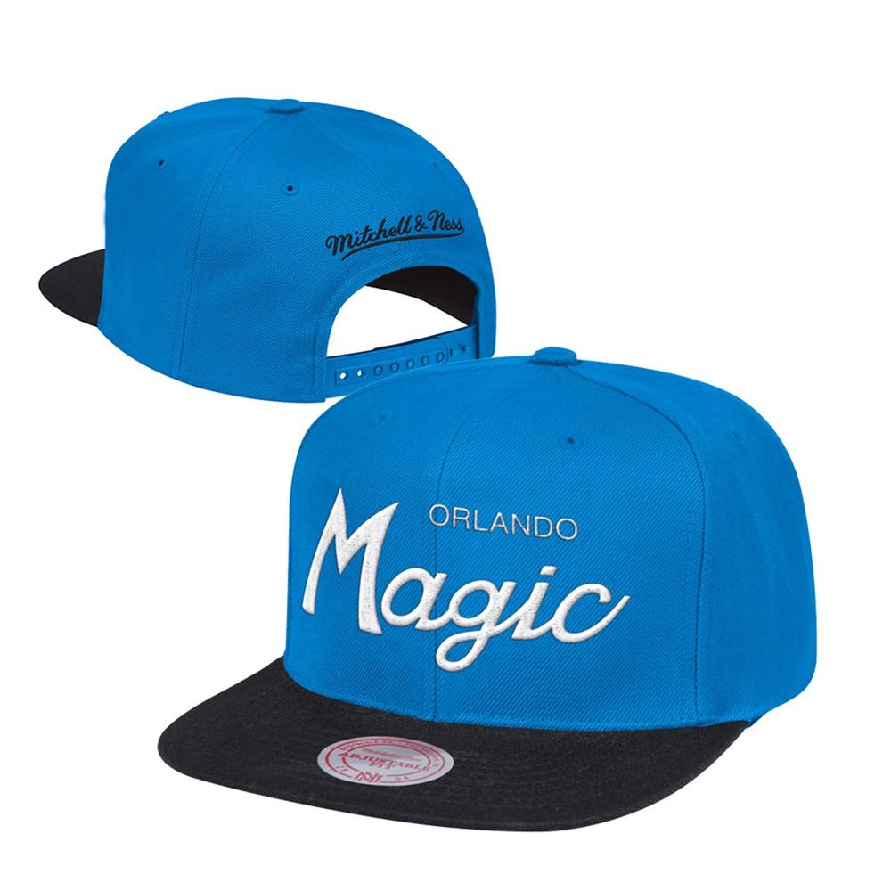 check out 8613c 6f3f1 Orlando Magic Mitchell   Ness Classic Script (Blue Black) Snapback Hat Cap
