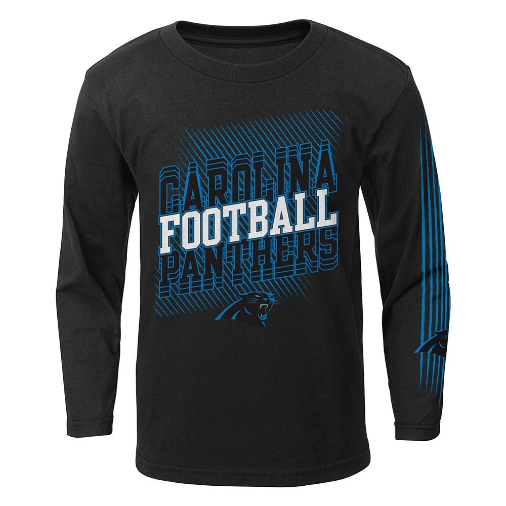 Black Outerstuff NFL Youth Carolina Panthers Long Sleeve Team Logo Cotton Tee