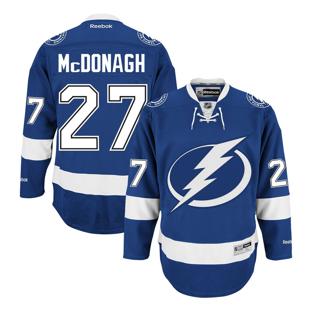 new style 959ff 6f732 Details about Ryan McDonagh Reebok Tampa Bay Lightning Home Blue Premier  Jersey Men's