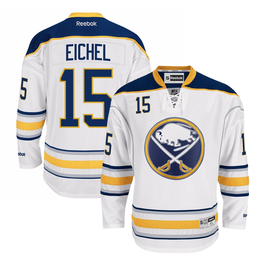 the best attitude 45c73 aadc6 Details about Jack Eichel Reebok Buffalo Sabres Official Road White Premier  Jersey Men's