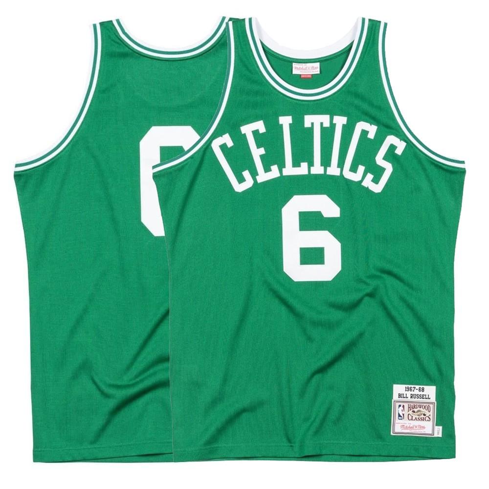8d04730e9 1967-68 Bill Russell NBA Boston Celtics Mitchell   Ness Authentic Away Green  Jersey (2XL)
