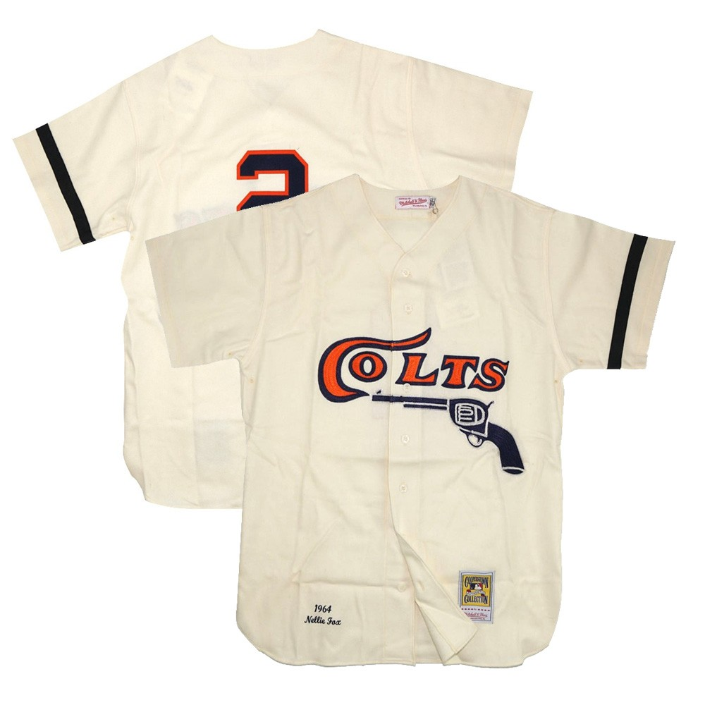 0d63bea1ad2 1964 Nellie Fox MLB Houston Colt .45s Mitchell   Ness Authentic Home Ivory  Jersey (XL)