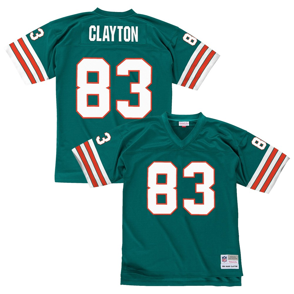 the latest 47a3b 76fd6 Details about Mark Clayton 1984 Miami Dolphins Mitchell & Ness Home Aqua  Legacy Jersey Men's