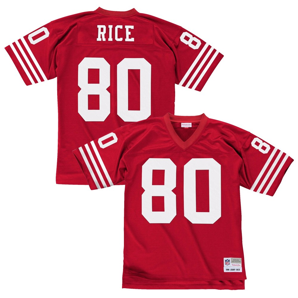 7c6a4b1153a Details about Jerry Rice 1990 San Francisco 49ers Mitchell   Ness Home Red  Legacy Jersey Men s