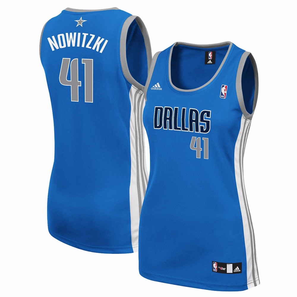 the latest cb3ae 49a4f Details about Dirk Nowitzki Dallas Mavericks Women's Blue Official Away  Road Replica Jersey