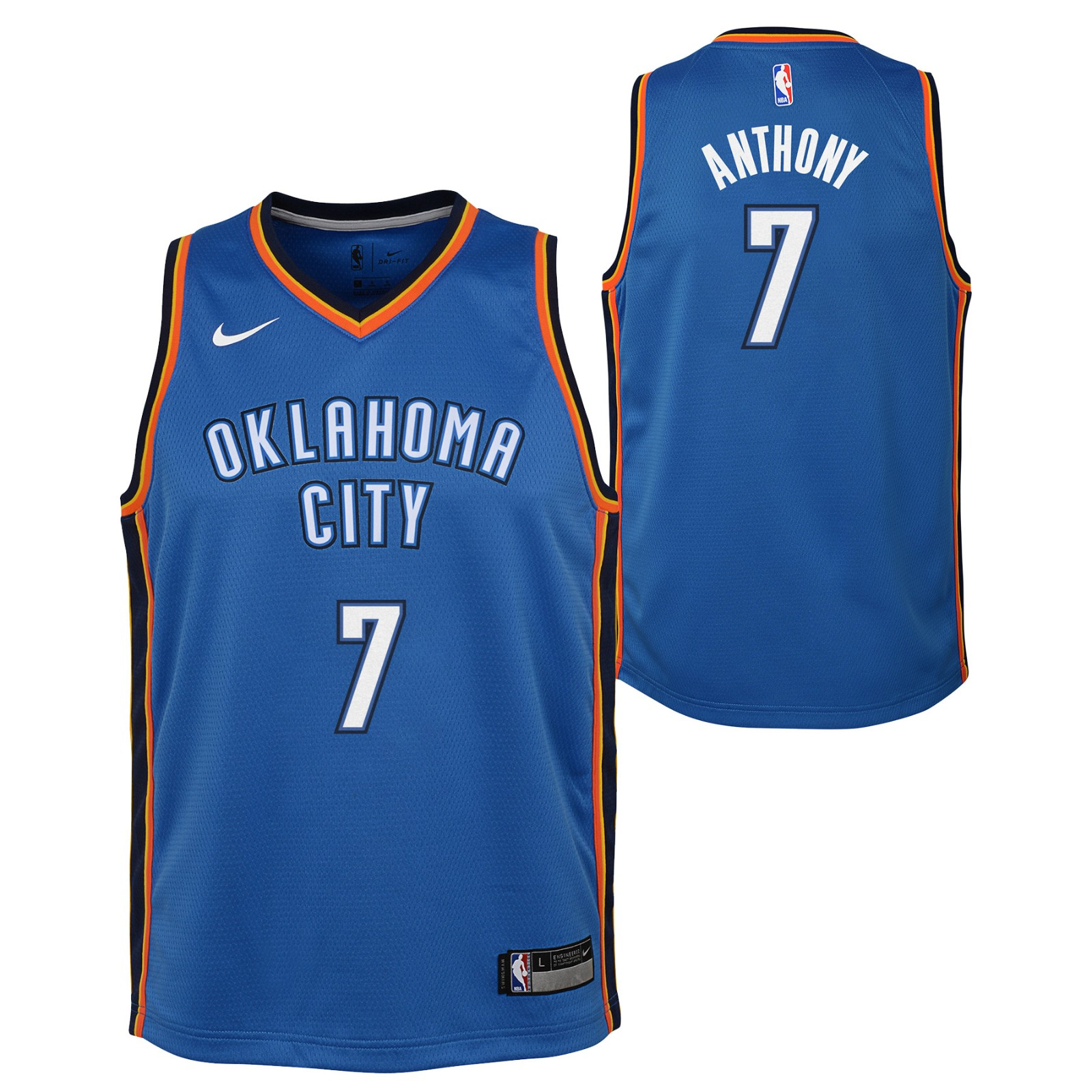 new product 80bf2 2530d Details about Carmelo Anthony Oklahoma City Thunder NBA Nike Youth Blue  Icon Swingman Jersey