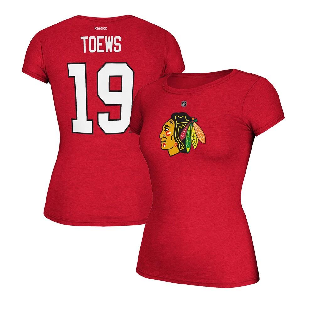 7df14a84d Jonathan Toews Reebok Chicago Blackhawks Player Red Jersey T-Shirt Women s