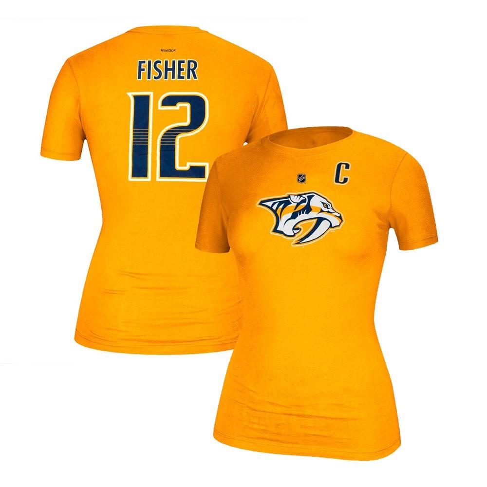 Details about Mike Fisher Reebok Nashville Predators Player N N Jersey Gold  T-Shirt Women s 29baa37f0bd