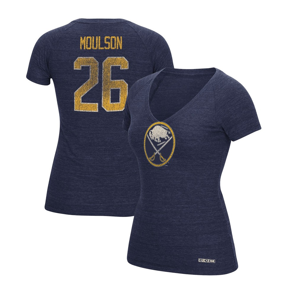 Matt Moulson CCM Buffalo Sabres Vintage V-Neck Navy Blue Jersey T-Shirt  Women s c907cfa67