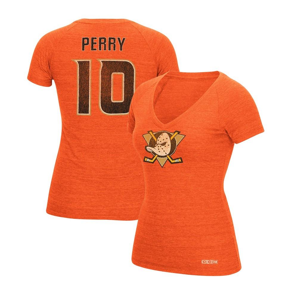 timeless design 2ca73 46329 Details about Corey Perry CCM Anaheim Ducks Vintage V-Neck Orange Jersey  T-Shirt Women's