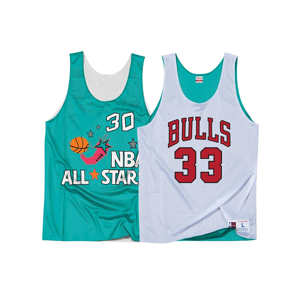 41373ede1 Scottie Pippen Chicago Bulls Mitchell   Ness Men s 1996 All Star Reversible  Practice Tank White Teal Jersey