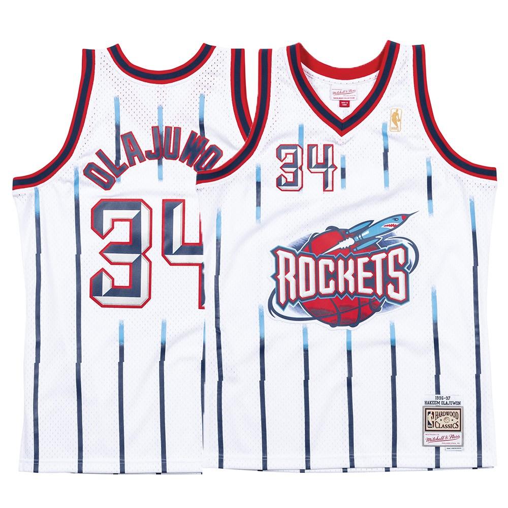 new concept 0b664 7d766 Details about Hakeem Olajuwon NBA Houston Rockets Mitchell & Ness White  96-97 Swingman Jersey