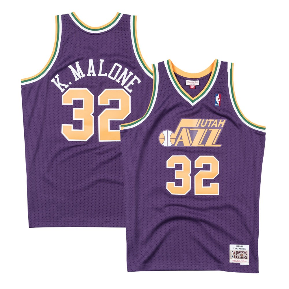 a9540cf15bdd Karl Malone Utah Jazz 1991-92 Road Purple Mitchell   Ness Swingman Jersey