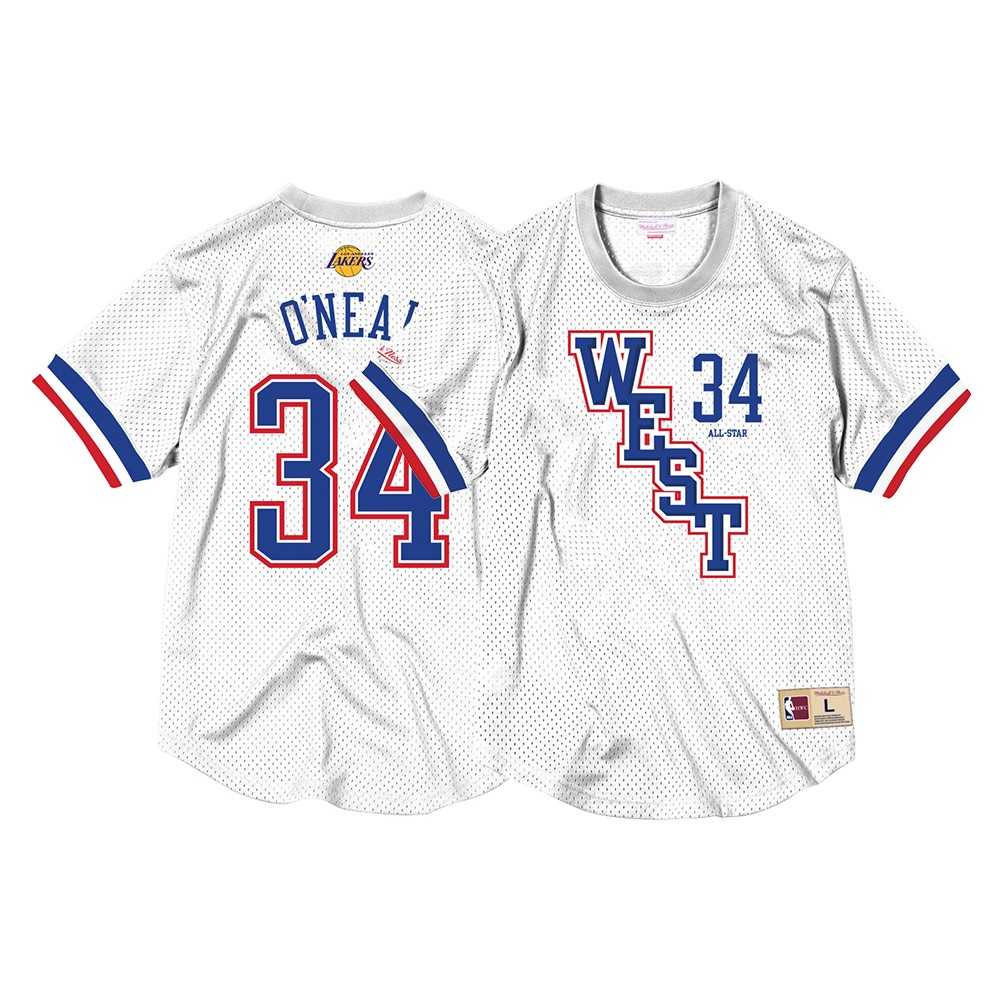 a956d5046bbe Shaquille O Neal 2004 NBA All Star West Mitchell   Ness Men s Mesh Crew Neck  N N White Jersey