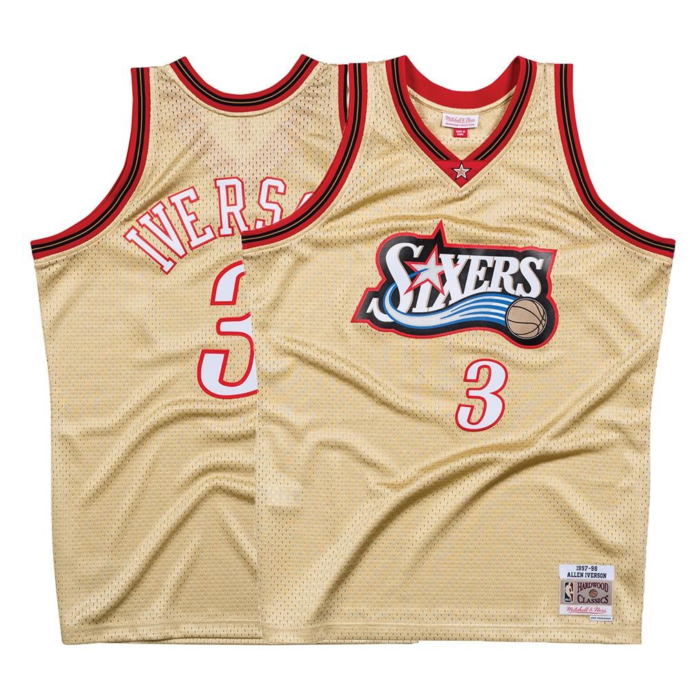 917734be9 Allen Iverson NBA Philadelphia 76ers Men's Mitchell & Ness Gold 1997-98  Swingman Jersey (2XL)