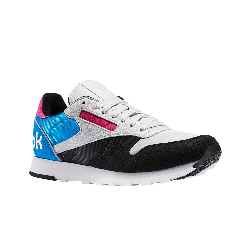 7d3613d0224 Details about Reebok Classic Leather Wb (BLACK SKULL GREY RISK BLU) Men s  Shoes BS6198
