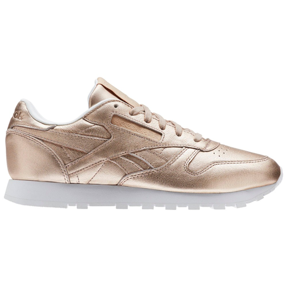 34893bb2c62 Reebok Classic Leather Melted Metal (PEARL MET-PEACH WHITE) Women s Shoes  BS7897