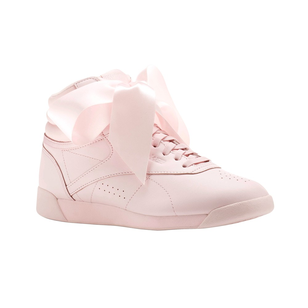 Reebok Freestyle Hi Satin Bow (PORCELAIN PINK SKULL GREY) Women s Shoes  CM8905 f4fee9d87