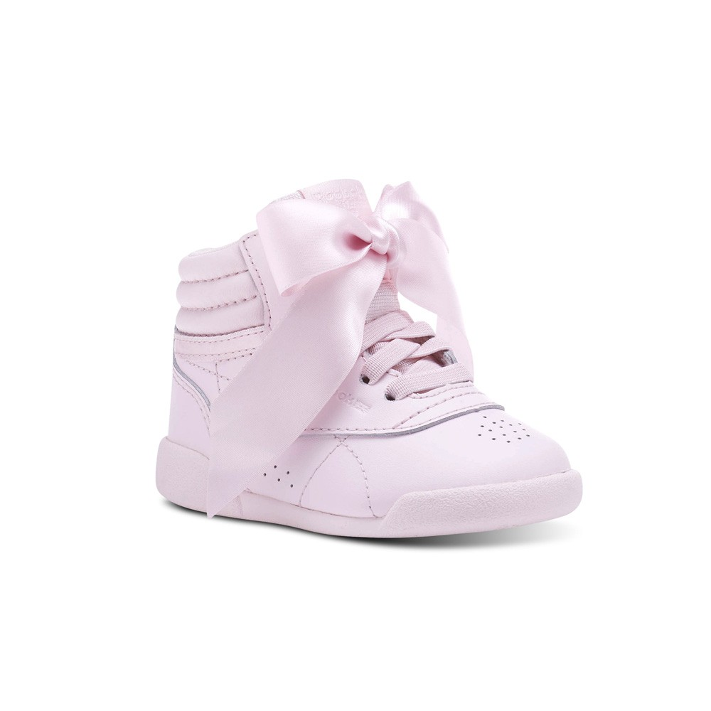 4b4a1e15968 Details about Reebok Freestyle Hi Satin Bow (PORCELAIN PINK SKULL GREY)  Toddler Shoes CN2027