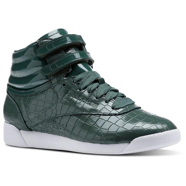 Details about Reebok Freestyle Hi Crackle (Chalk GreenPragmatic Tea) Women's Shoes CN2194
