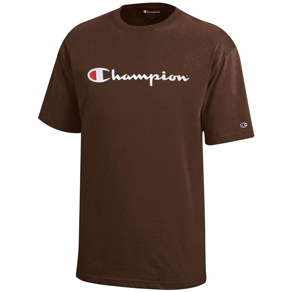 ce451e715290 Champion Script Logo Youth (Brown) Short Sleeve T-Shirt | eBay