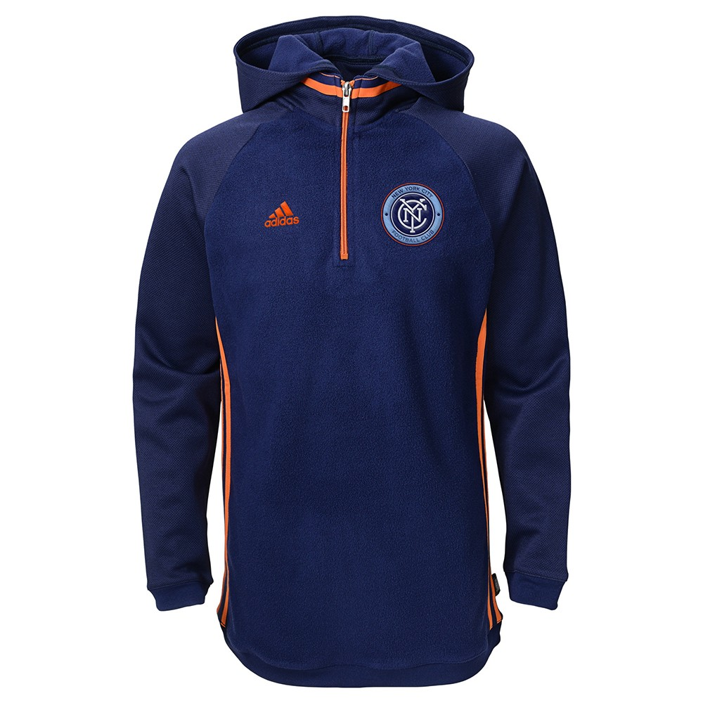 official photos cbfa7 aab67 Details about New York City FC MLS Adidas Climawarm Performance Travel 1/4  Zip Hoodie Youth