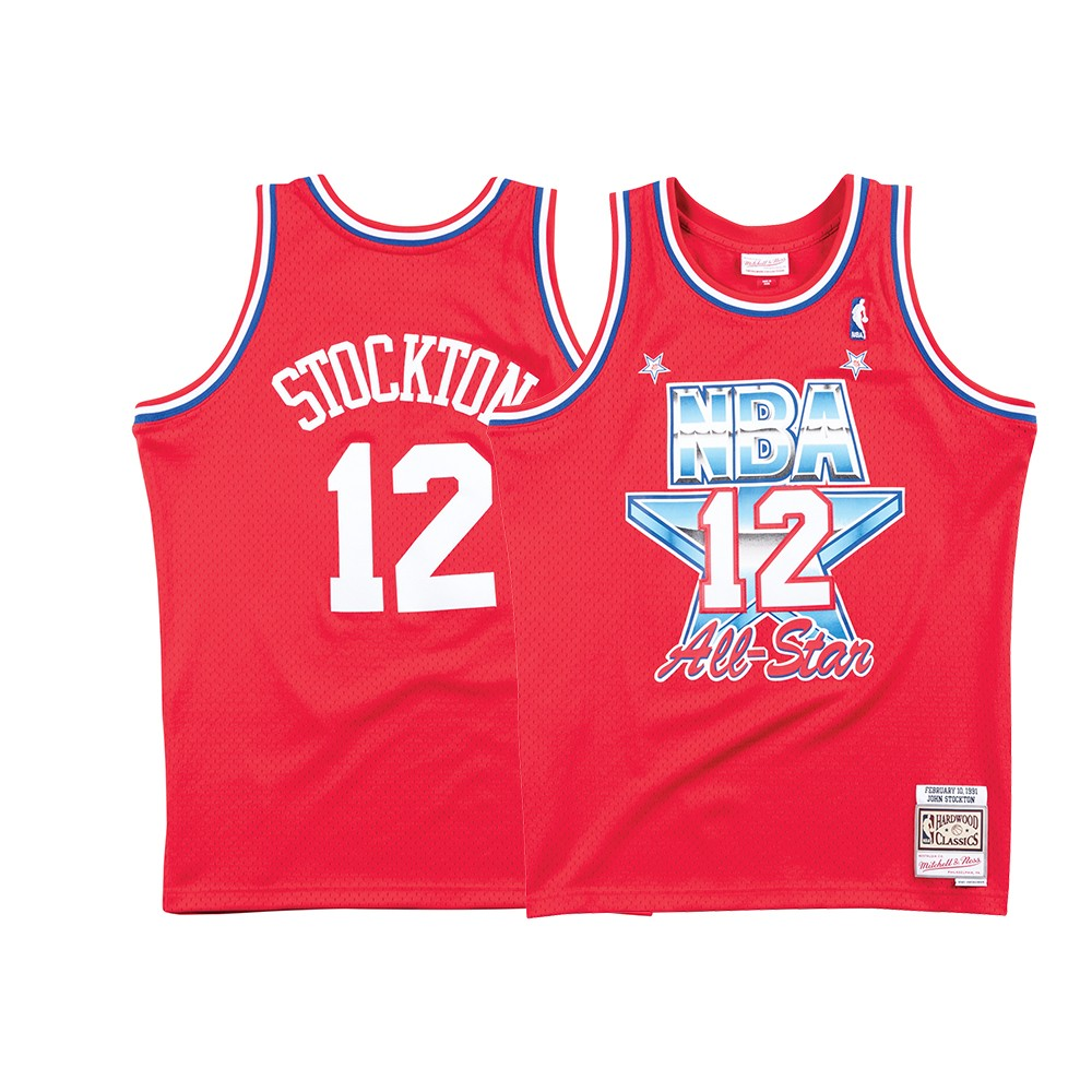 check out c3e72 559cc Details about John Stockton NBA 1991 All Star West Mitchell & Ness Men's  Swingman Red Jersey