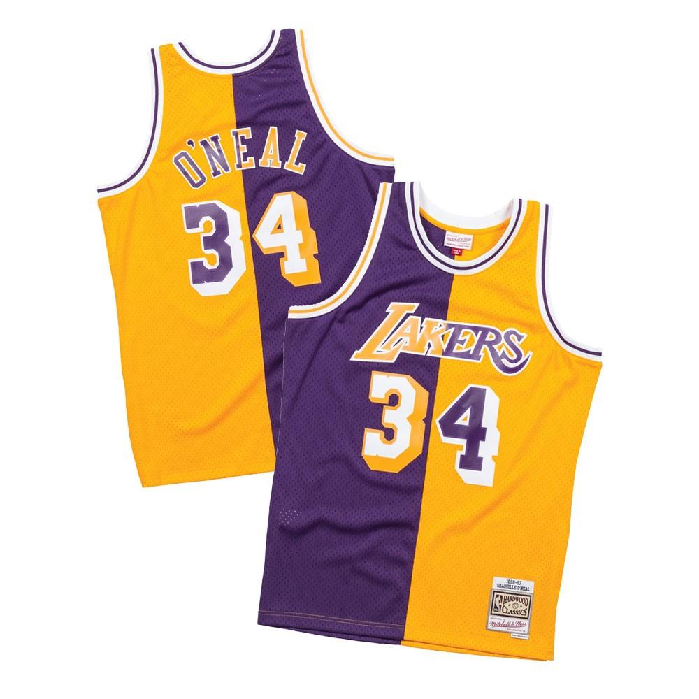 Shaquille O Neal 1996-97 LA Lakers Mitchell   Ness Men s Split Swingman  Jersey 067fc1fd8