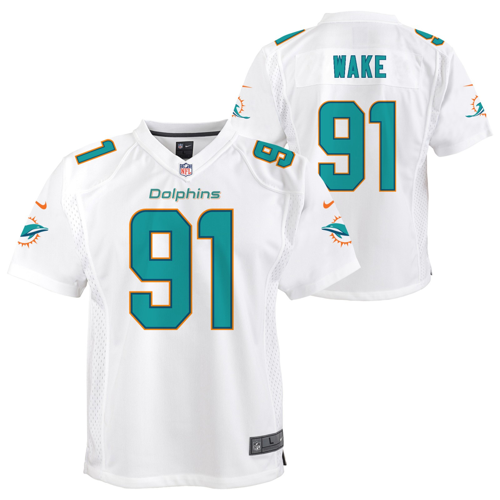 new style 82dce 0a577 Details about Cameron Wake Miami Dolphins NFL Nike Youth White Game Jersey