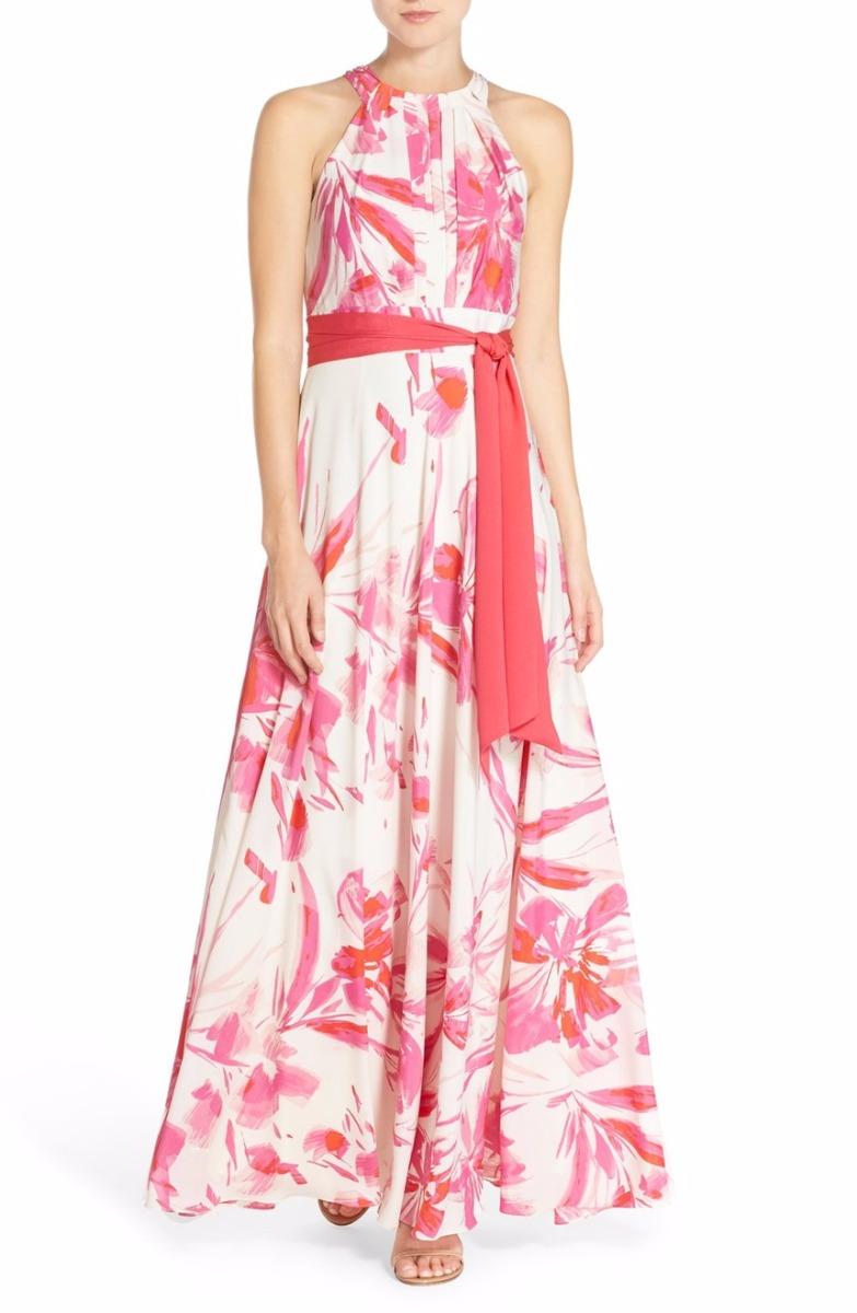0db2d32362f Details about Eliza J Floral Print Halter Maxi Dress Sz 8