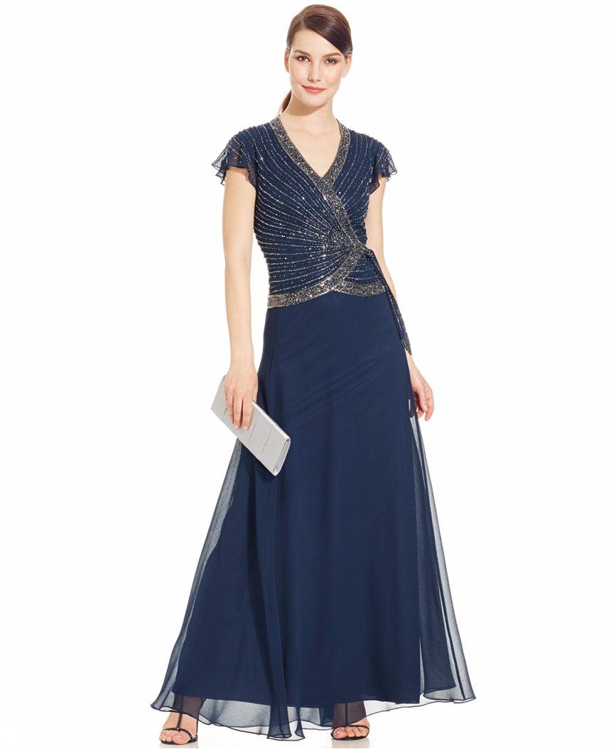 J Kara Beaded Chiffon Gown SZ 16 Navy | eBay