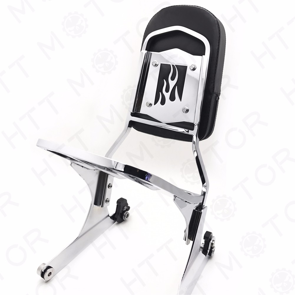 Chrome Flame Detachable Sissy Bar Backrest /& Luggage Rack for Harley Softail FLH