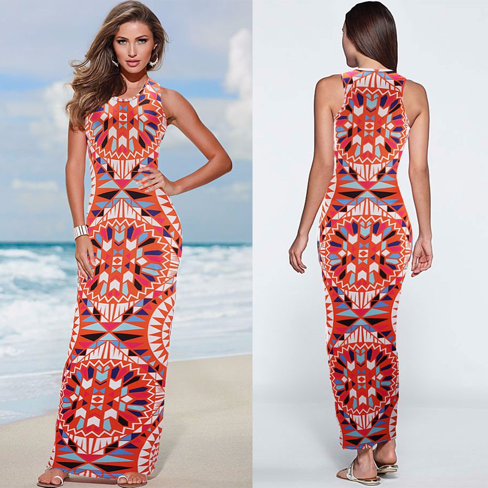 Long Sexy Women Sleeveless Floral Casual Summer Holiday ...