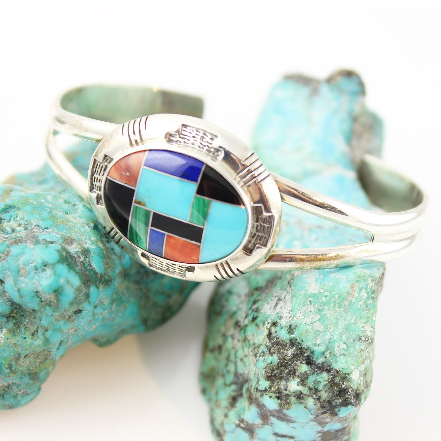Vintage Carolyn Pollack Relios Sterling Silver Inlaid Turquoise Cuff Bracelet Ebay