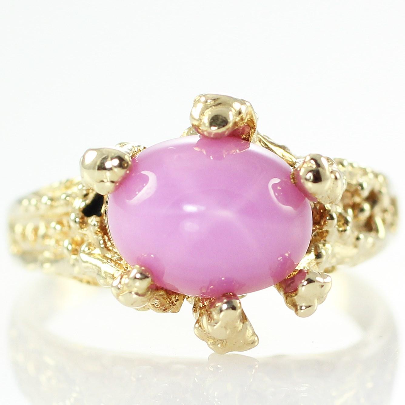 14K Gold Lab Created Pink Star Sapphire Ring 7.5 VINTAGE Organic ...