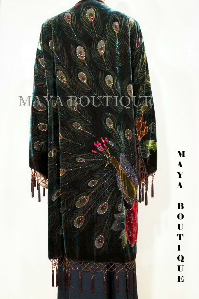 Peacock Duster Kimono Opera Coat Beaded Silk Burnout
