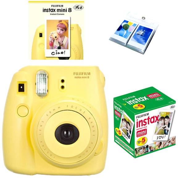 fujifilm fuji instax mini 8 polaroid instant camera 50 film photo album ebay. Black Bedroom Furniture Sets. Home Design Ideas