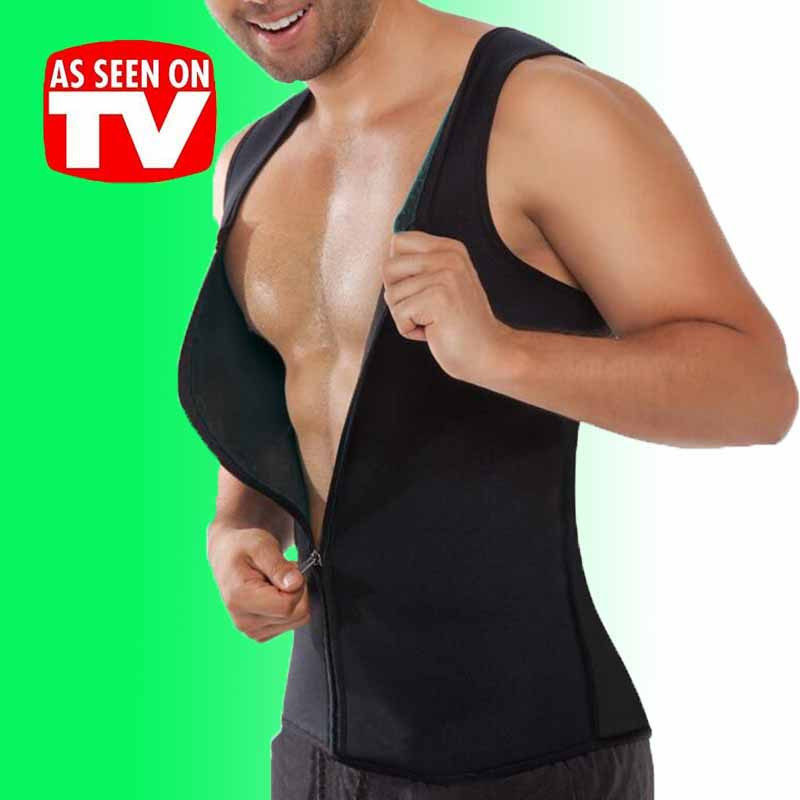 92b6ef65ab9a3 Mens Shaper Corset Sweating Vest Body Tummy Control Zipper Waist ...