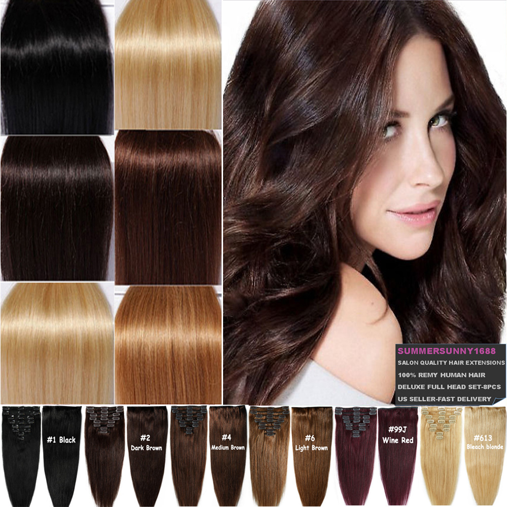 Indian Clip In Remy Human Hair Extensions Deluxe Thick Full Head