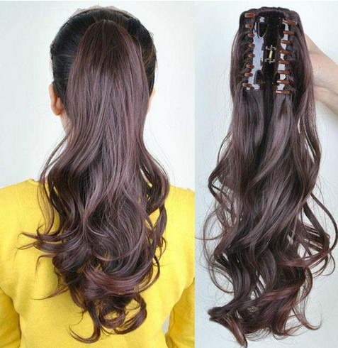 Clip in ponytail pony tail hair extension wrap on hair piece wavy how to care for synthetic hair extensions pmusecretfo Images