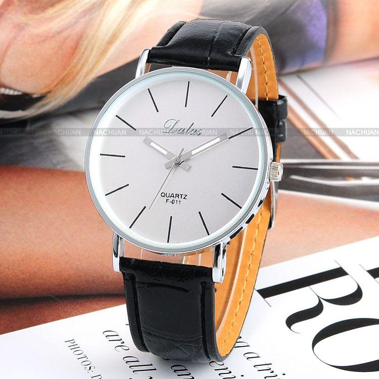 dalas leder quarzuhr damen herren uhr elegante armbanduhr weiss watch neu ebay. Black Bedroom Furniture Sets. Home Design Ideas