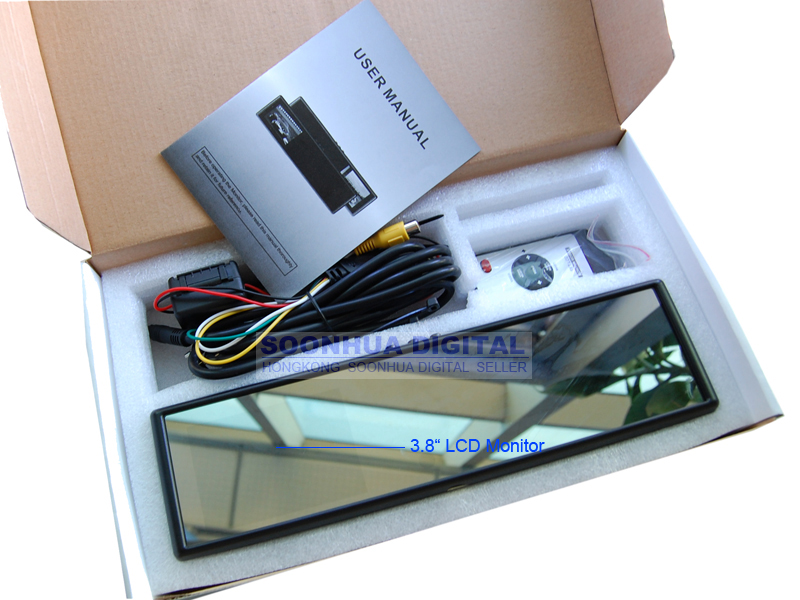 """3 8"""" TFT LCD Car Rear View Rearview Mirror DVD Monitor"""