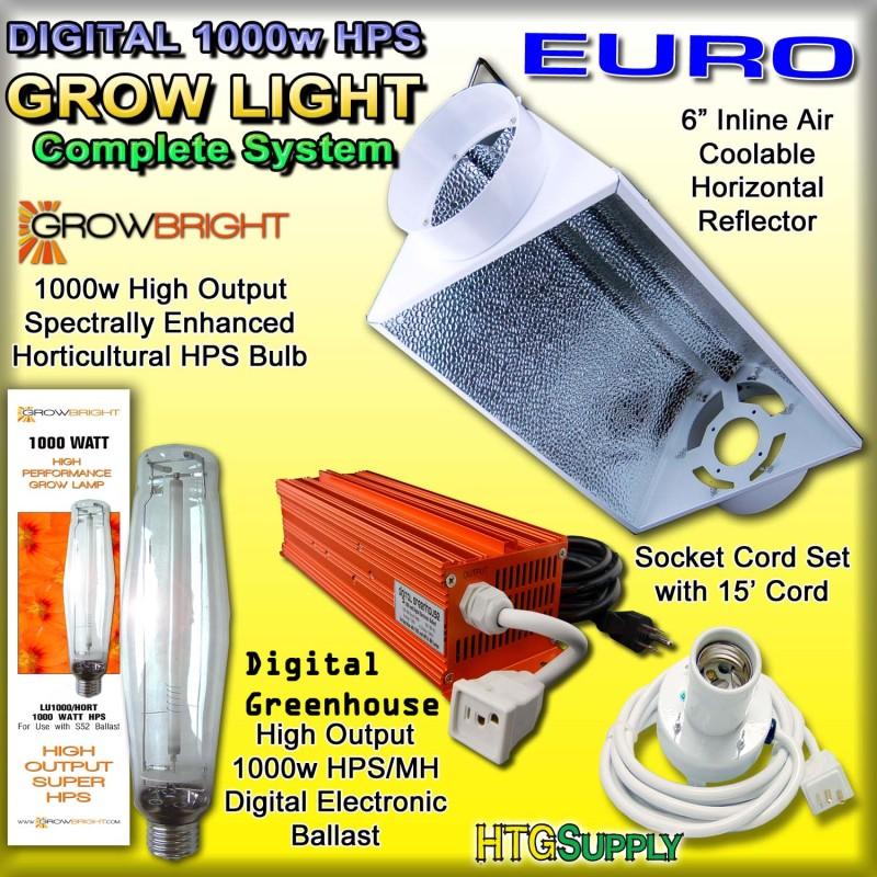 DIGITAL 1000 watt HPS GROW LIGHT 1000w AIR COOLED HOOD