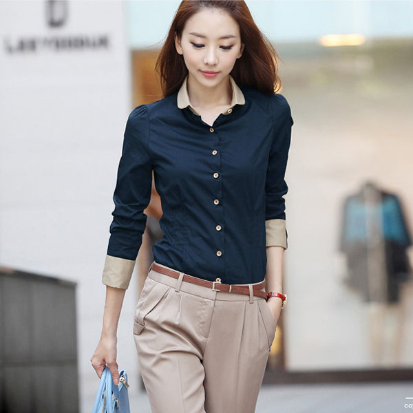 Women's Lady Stylish Long Sleeve Formal Shirt Blouse Tops ...