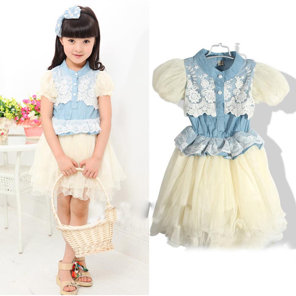 Fashion Chic Kids Toddlers Girls White Lace Fluffy Gauze Cowboy Jeans Dress