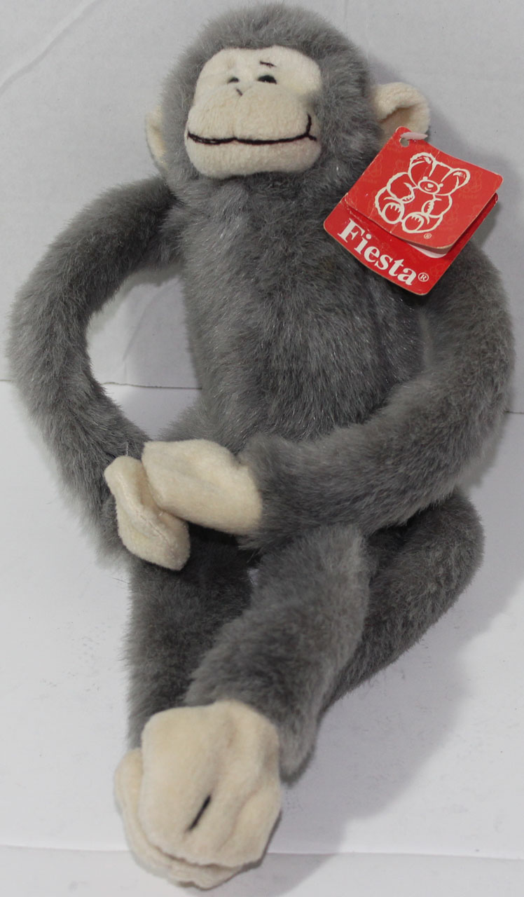 Fiesta Toys GRAY AND CREAM WHITE HANGING HANDS MONKEY Stuffed Plush TOY NEW  NWT