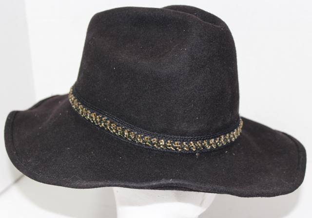 Vintage AUTHENTIC WESTERN TRAILS Black TRAIL BOSS COWBOY HAT Sz 6 7 8 100% f95fcb5bca3